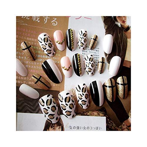 Zuanty La mode 24pcs / set acrylique faux ongles léopard conception dames de taille moyenne et longue plein ruban adhésif double face-1