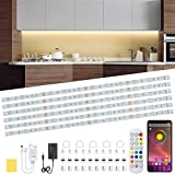 Under Cabinet LED Lighting Kit, 6 PCS RGB LED Strip Lights Waterproof Dimmer 10ft Night Light Bar with APP and Remote Control,Timing Flexible Color 5050 LED for Kitchen,Cupboard,Shelf,TV Back,Showcase