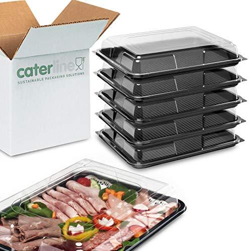 Partyteller-Set – 1 x groß, 2 x mittelgroß, 1 x klein, 1 x Mini, und 1 x Teller, 1 Schale für Knabberzeug. Mit schwarzem Boden und transparentem Deckel - für Buffet, Catering, Lebensmittel