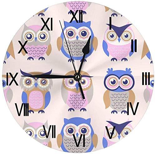 XXSCXXSC Reloj de Pared Búho Reloj Decorativo Reloj de Escritorio para Dormitorio Sala de Estar Cocina Oficina