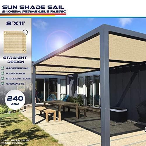 Windscreen4less Straight Edge Sun Shade Sail,Rectangle Heavy Duty 240GSM Outdoor Shade Cloth Pergola Cover UV Block Fabric - Custom Size Sand 8' X 11'