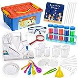 D-FantiX 37Pcs Kids Science Experiments Kits for Toddlers Science Kits for Kids 3+ Girls, Boys Kids Toys Gift w/ Goggles Scientist Coat Costume STEM
