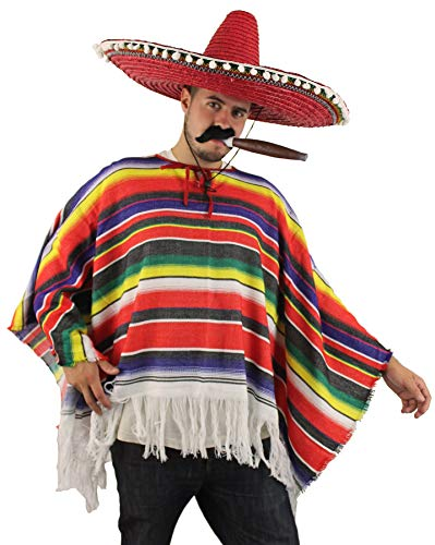 ILOVEFANCYDRESS Poncho Mexicano MULTICOLORIDO para Adultos Talla Unica