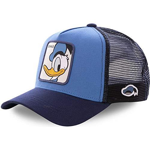 PPSTYLE Anime Blue Snapback Cap Baumwolle Baseball Cap Männer Frauen Hip Hop Papa Hut Trucker Mesh Hat-Donald Duck Blau