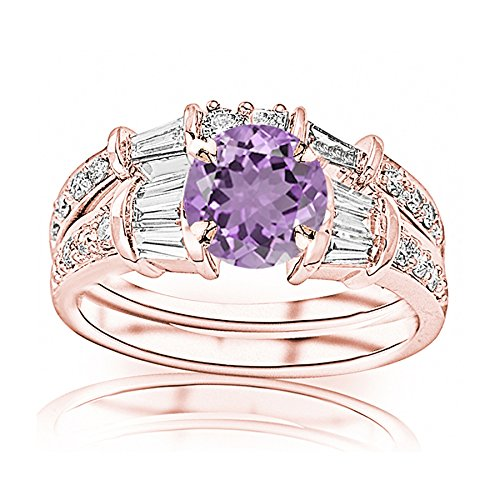1.33 Carat t.w 14K Rose Gold Baguette And Round Brilliant Diamond Engagement Ring and Wedding Band Set w/a 0.5 Carat Round Cut Purple Amethyst Heirloom Quality