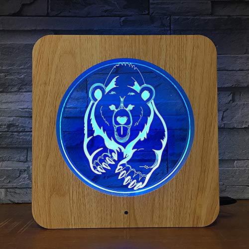 Big Bear Plastic DIY d 3D LED Lámpara de mesa de luz nocturna Mesita de noche Decoración Regalo de niños