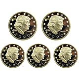 5 Pcs President Donald Trump Coins, 2020 Gold Plated Commemorative Coin with Gift Box