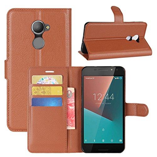 HualuBro Vodafone Smart N8 Hülle, Leder Brieftasche Etui LederHülle Tasche Schutzhülle HandyHülle [Standfunktion] Handytasche Leather Wallet Flip Hülle Cover für Vodafone Smart N8 (Braun)