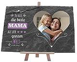 wandmotiv24 Schiefertafel Beste Mama, Personalisiert mit Ihrem Farbfoto Herzform, Aufstellschild,...