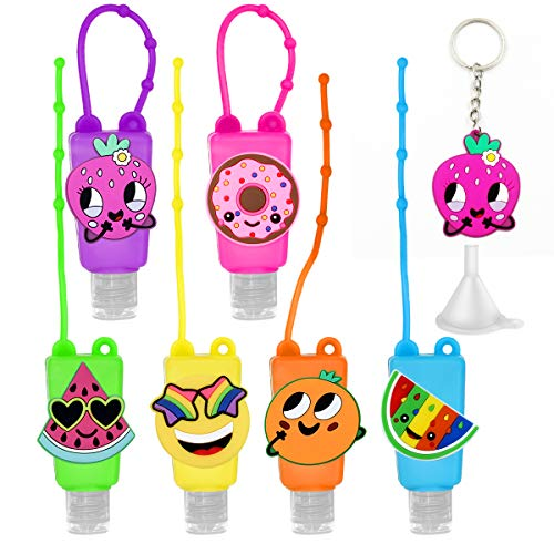 6Pcs Kids Empty Hand Sanitizer Holder Keychain Carrier Travel Size Bottle with Silicone Case Leak Proof Refillable Portable Containers, Flip Cap, Liquid Soap, Lotion