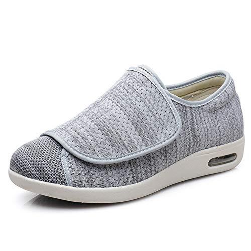SZFGYJ Mujer De Los Hombres Diabéticos Zapatillas, Unisex Hinchado Calzado Lightweigth Zapatos para Caminar Zapatos Edema Ajustables Extra Ancho Confort Sandalias De Edad Avanzada,Light Gray,41 🔥