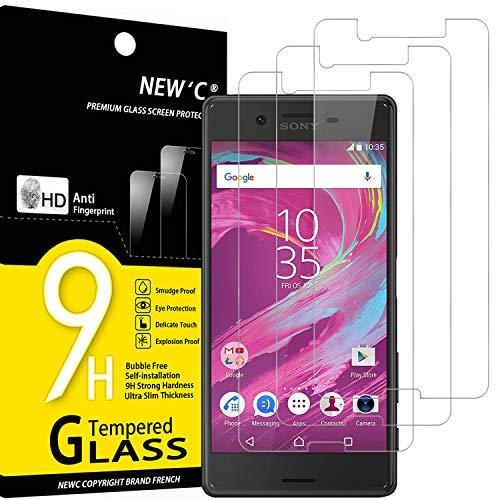 NEW'C 3 Stück, Schutzfolie Panzerglas für Sony Xperia X, Frei von Kratzern, 9H Festigkeit, HD Bildschirmschutzfolie, 0.33mm Ultra-klar, Ultrawiderstandsfähig