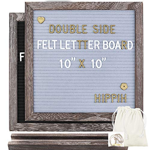Double Sided Felt Letter Board with Rustic Wood Frame 10'' x 10'',Pre-Cut White&Gold Letters, Symbols, Emojis, Months & Days & Script Cursive Words, 2 Letter Bags