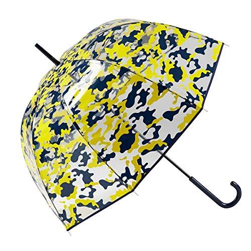 GOTTA Paraguas Transparente Largo de Mujer con Forma de cúpula. Antiviento y Manual. Estampado Camuflaje - Amarillo