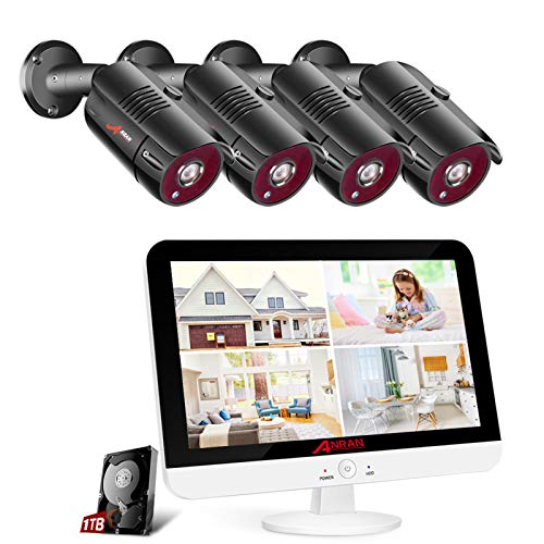 [8CH Expandable]ANRAN 1080P Security Camera System with 13 inch Monitor, All-in-one 5MP-Lite DVR Pre-install 1TB Hard Drive 4pcs 2MP Outdoor Weatherproof CCTV Cameras with Motion Alert, Remote Access