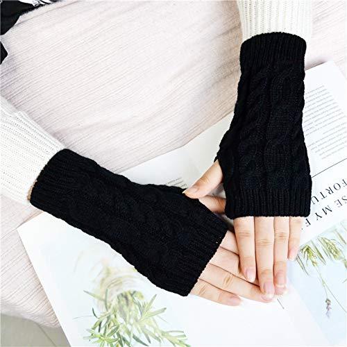 YUY Frauen Arm Handschuhe Warme Lange Fingerlose Handschuhe Handgelenk Handschuhe Winter Frauen Lange Fingerlose Handschuhe Warme Mode Mitten Strick Häkelhandschuhe,Black