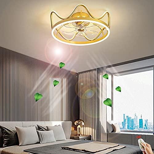 Ventilador techo LED con iluminación Ventilador moderno Luz techo silencioso Candelabro con control remoto Atenuación Velocidad viento ajustable Sala de estar Dormitorio Habitación infantil