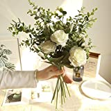 letaowl Flores Artificiales 1 Manojo Ramo de Flores Falsas decoración casa decoración Sala de Estar decoración Floral White