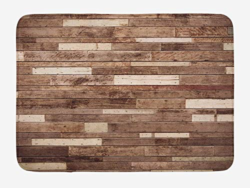 FANCYDAY houten badmat, muur vloer getextureerde planken panelen afbeelding kunst afdrukken graan Cottage Lodge hardhout patroon, pluche badkamer decor mat, bruin
