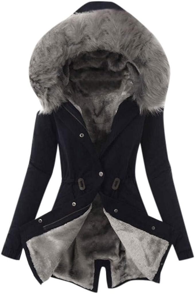 NRUTUP Winter Warm Thick Long Jacket Womens Parka Fur Lining Coat Hooded Overcoat Faux Fur Jackets
