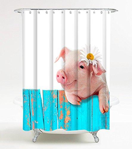 Duschvorhang Schwein 180 x 200 cm, hochwertige Qualität, 100prozent Polyester, wasserdicht, Anti-Schimmel-Effekt, inkl. 12 Duschvorhangringe