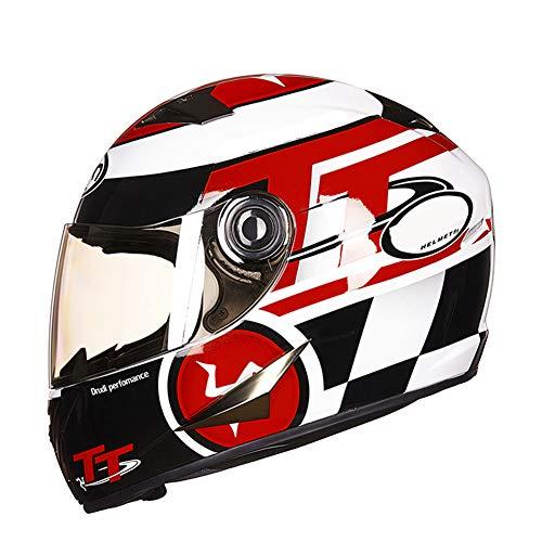 HSKS Rot Schwarz Weiß Graffiti Motorrad Helm für Damen und Herren Lokomotive Sommer Antibeschlag-Vollhelmabdeckung Vier Jahreszeiten Universal Persönlichkeit Cool Winter Warm