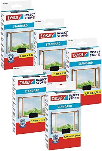 tesa Insect Stop Standard Fliegengitter für Fenster - Insektenschutz zuschneidbar - Mückenschutz ohne Bohren - 5 x Fliegen Netz anthrazit - 110 cm x 130 cm