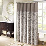 Madison Park Aubrey Shower Curtain Paisley Jacquard Pieced Microfiber Faux Silk Modern Home Bathroom Decorations Bathtub Privacy Screen, 72' x 72', Blue