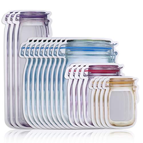 Mason Jar Botellas Bolsas de 4 tamaños reutilizables a prueba de fugas con cremallera para almacenamiento de alimentos, bolsas para aperitivos, sándwich y caramelos, 20 unidades