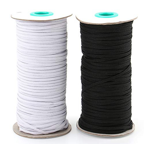 Tosnail 2 Pack 120-Yards Long 1/8' Wide Knit Elastic Spool Elastic Cord for Sewing or Craft Project - Black and White Total 240 Yards