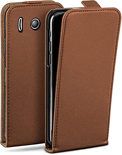 moex Flip Hülle für Huawei Ascend Y300 - Hülle klappbar, 360 Grad Klapphülle aus Vegan Leder, Handytasche mit vertikaler Klappe, magnetisch - Braun