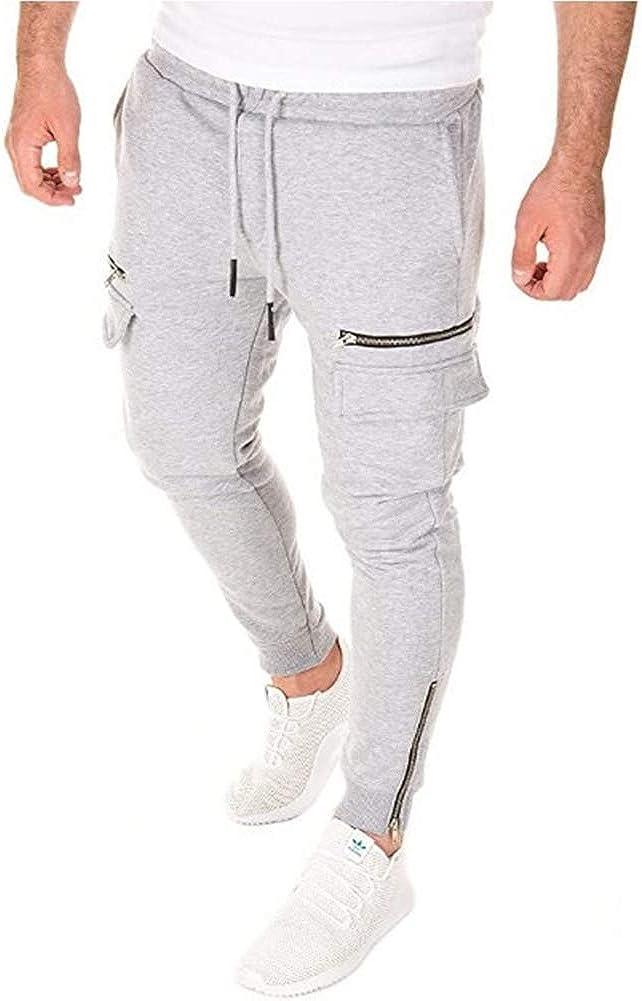 MorwenVeo Mens Max 75% OFF Fashion Joggers Tulsa Mall Sports - Trousers Slim Fit Zipper