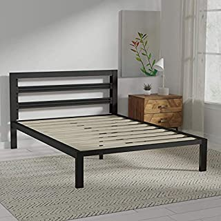 Amazon Basics Metal Bed with Modern Industrial Design Headboard - 14 Inch Height for Under-Bed Storage - Wood Slats - Easy Assemble, Queen (B086TG9Q4V) | Amazon price tracker / tracking, Amazon price history charts, Amazon price watches, Amazon price drop alerts