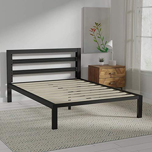 Amazon Basics Metal Bed with Modern Industrial Design Headboard  14 Inch Height for UnderBed Storage  Wood Slats  Easy Assemble Queen