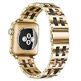 De Galen Correa de resina de lujo para Apple Watch Band 5, 4, 3, 2, 40 mm, 44 mm, 38 y 42 mm, para iWatch Series 5, 4, 3, correa de resina de acero inoxidable (color: dorado negro, tamaño: 42, 44 mm)