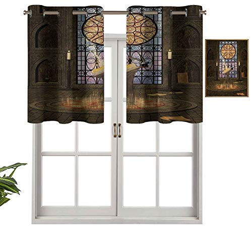 Hiiiman Blackout Curtain Valances Thermal Insulated Short Grommet Curtain Panels Pentagram Magic Candles, Set of 1, 42'x18' Small Half Window Valances for Bedroom