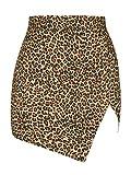 sdawa Womens Casual Faux Leather Mini Skirt, Womens Cross Open Fork Mini Skirt Short Skirt