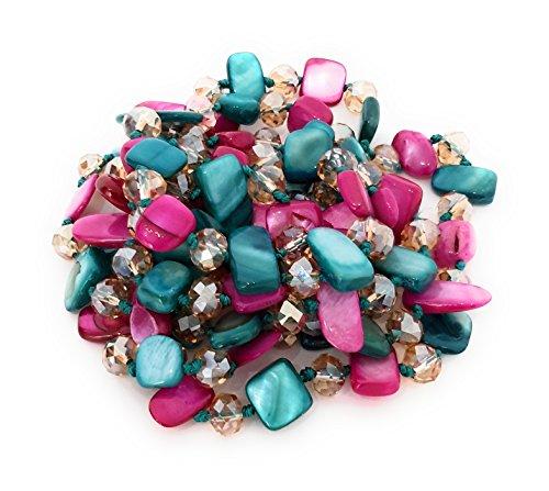 BRANDELIA Collares Largos de Colores Mujer Bisutería de Nácar y Perlas de Cristal, Fucsia Turquesa