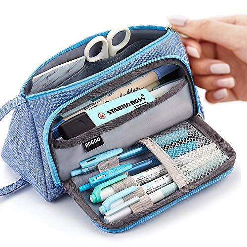 Große Kapazität Federmäppchen Durable School Student Stifthalter Organizer Schreibwaren Make-Up Kosmetiktasche für Mädchen, 20x11cm (Hellblau)