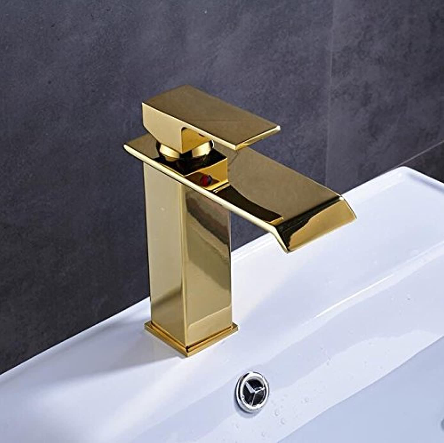 Makej golden Finish Bathroom Hot Cold Water Taps Deck Mounted Basin Faucet
