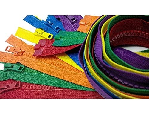 YKK- 30 Inch Vislon Sport Jacket Zippers for All Special Occasions YKK #5 Molded Plastic Separating in Rainbow Colors Mix is Mixed with 504, 519, 523, 526, 876 and 918 Made in USA