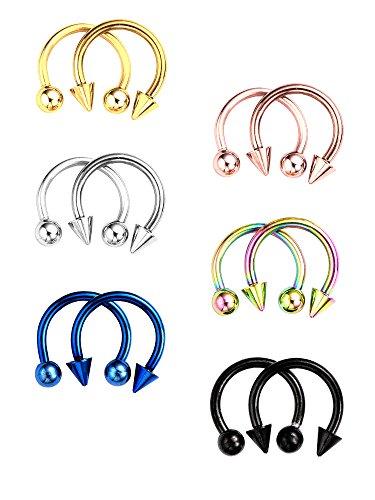 12 Stücke Edelstahl Nasenstecker Septum Hufeisen Hoop Stud Piercing Ringe für Ohr Augenbraue Tragus Lip, Verschiedene Farben