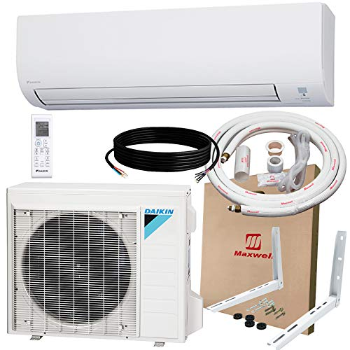 DAIKIN 24,000 BTU 19 SEER Wall-Mounted Ductless Mini-Split A/C Heat Pump System with Maxwell 15-ft Installation Kit & Wall Mounting Bracket (230V) 12 Year Limited Warranty