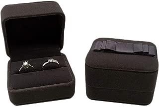 Bearda Velvet Double Ring Box - Navy Couple Bearer Ring Organizer Jewelry Earring Pins Gift Favor Case with Elegant Silk Box for Wedding, Engagement, Christmas (Gray)