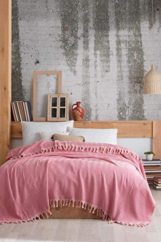 Colcha de alta calidad, ideal para cama y sofá, 100% algodón, con flecos hechos a mano, 200 x 250 cm (rosa claro)