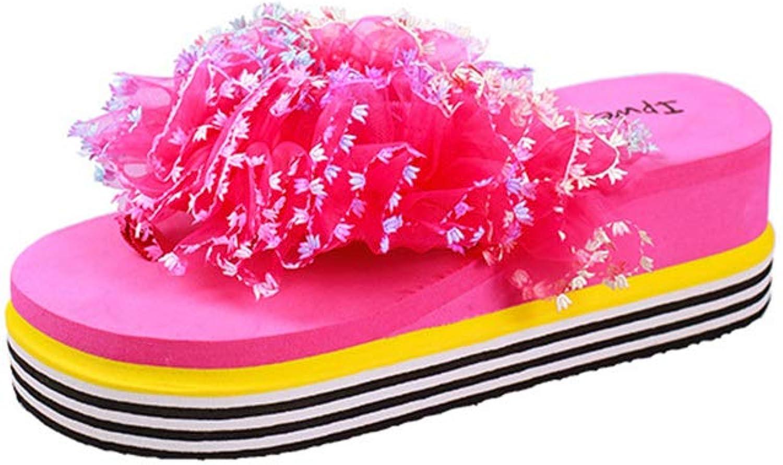 Btrada Women's Flower Thong Flip Flops Summer Anti-Slip Wedges Clip Toe Beach Slippers Fashion Sandals