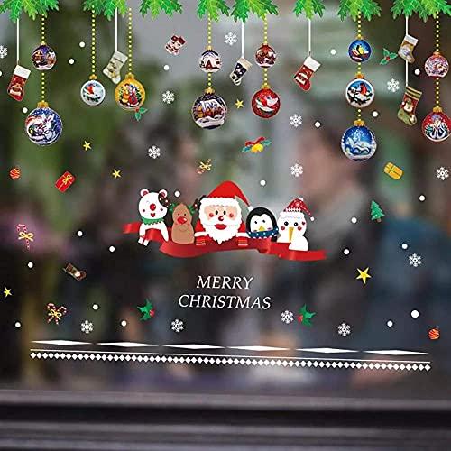 Variedad de Pegatinas de decoración navideña Pegatinas de Pared / Decoración navideña / Hombre Alce Muñeco de Nieve Niño / Arreglo de Escena de Vidrio para escaparate