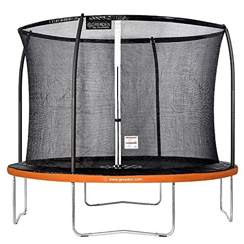 Greaden - Tappeto elastico da giardino Freestyle Orange 305, per fitness, esterno Ø 305 cm, rete di sicurezza/cuscino di protezione / tappeto di salto