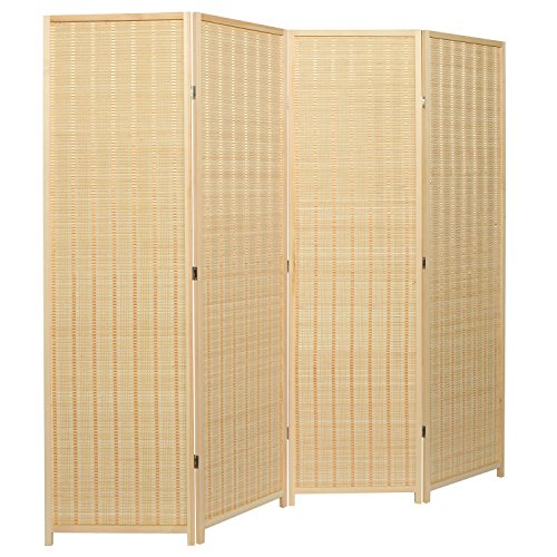 MyGift Decorative Freestanding Beige Woven Bamboo 4 Panel Hinged Privacy Screen Portable Folding...