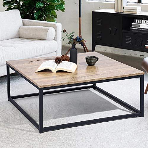 BAKAJI Tavolino Divano Tavolo caffè da Salotto Quadrato Design Moderno Industriale Struttura in Metallo con Piano d'appoggio in Legno MDF Dimensione 80 x 80 x 34 cm (Quercia)